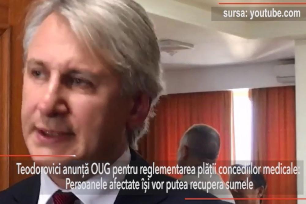 Teodorovici anunţă OUG pentru reglementarea plăţii concediilor medicale