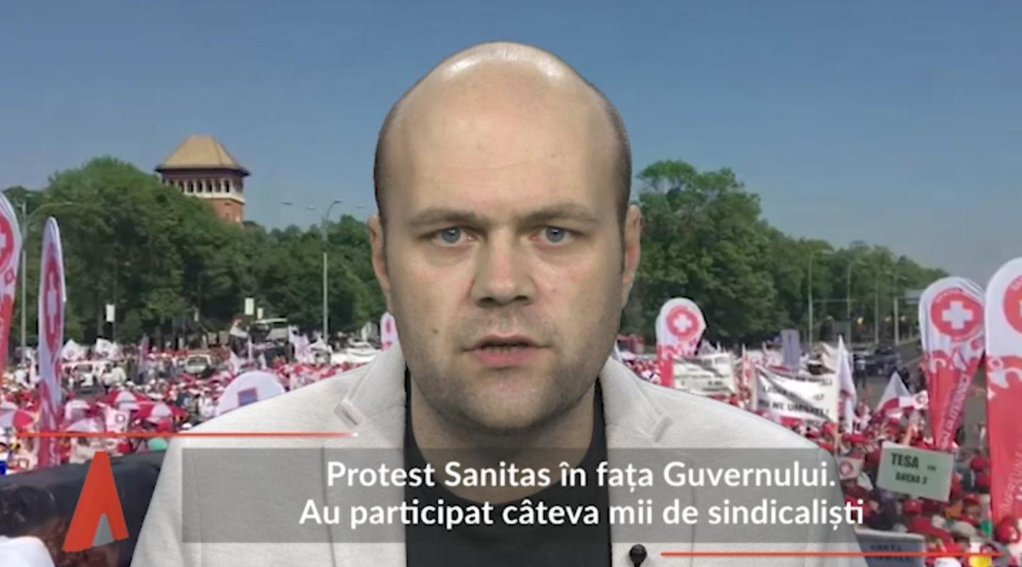 Mii de sindicalişti, prezenţi la protestul Sanitas din faţa Guvernului